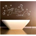 Soap and Laughter Bathroom Quote Vinyl Decal Mural, Bathe