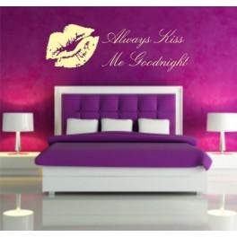 Always Kiss Me Goodnight Bedroom Wall Art Sticker 1