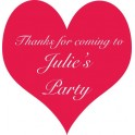 Personalised Party Stickers Birthday Name Heart
