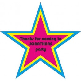 Personalised Party Stickers Birthday Name Star