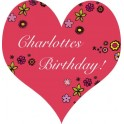 Personalised Party Stickers Birthday Name Colour Heart