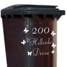Personalised Wheelie Bin Vinyl Sticker Decal Butterflys