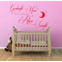Wall art quote personalised sticker baby Goodnight Moon Kids, Nursery, bedroom