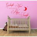 Wall art quote personalised sticker baby Goodnight Moon Kids, Nursery, bedroom