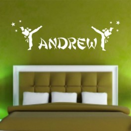 Your Name Personalised Wall Art Stickers Kids Karate Boys, Girls Chinese