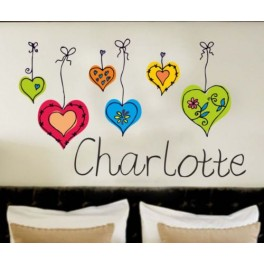 Your Name Personalised Wall Art Stickers Kids Hearts