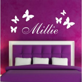 PERSONALISED NAME with Butterfly wall art Sticker Kids