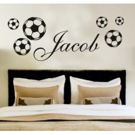 your name personalised wall art stickers kids football