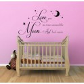 We Love You to The Moon and Back, Vinyl Wall Art Sticker, Nursery, Bedroom