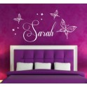 Personalised Wall Art Stickers Kids Butterfly