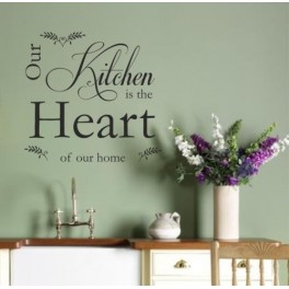 Vinyl Wall Art Sticker Quote Kitchen Heart, Decal Vinyl v2, Dining Room