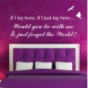 Wall Art Quote sticker IF I LAY HERE Snow Patrol Lyrics