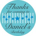 Personalised Party Stickers Birthday Name Stars Design
